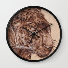 Black Panther Portrait - Drawing by Burning on Wood - Pyrography Art Wall Clock