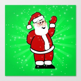 Christmas Santa in Red Suit Green Background Snow Canvas Print