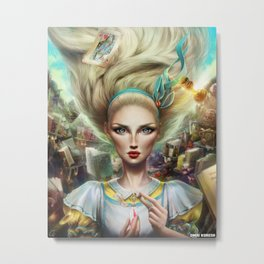 Alice In Wonderland, Portrait Metal Print