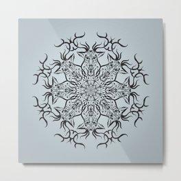 Deer mandala on gray background Metal Print