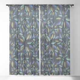 Duo-Toned Leaf pattern 1 (Purple/Gold) Sheer Curtain