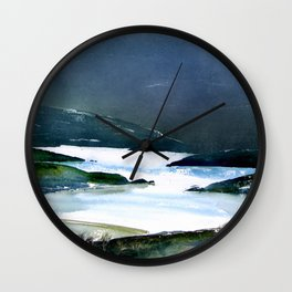 Icy white waters in forest black onyx mountains Wall Clock