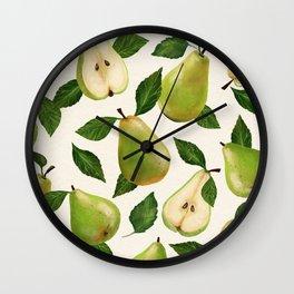 Green Pears Wall Clock