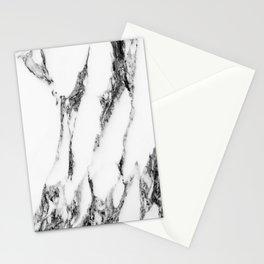 White Black Marble Design Stationery Cards