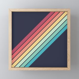 Lembona - Classic 70s Vintage Style Retro Summer Stripes Framed Mini Art Print