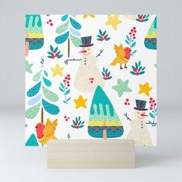 Cute colorful Christmas symbols seamless pattern Mini Art Print