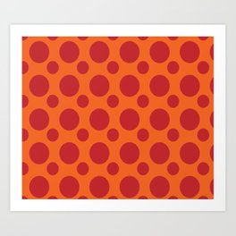 RED DOTS ON A ORANGE BACKGROUND Abstract Art Art Print
