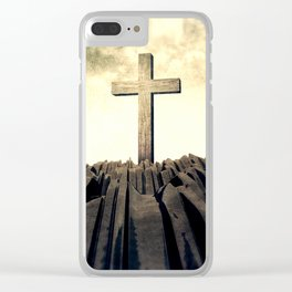 Christian Cross On Mountain Clear iPhone Case