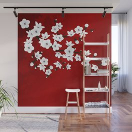 Red Black And White Cherry Blossoms Wall Mural