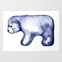 water colour Art Prints featuring water colour polar bear by karinka