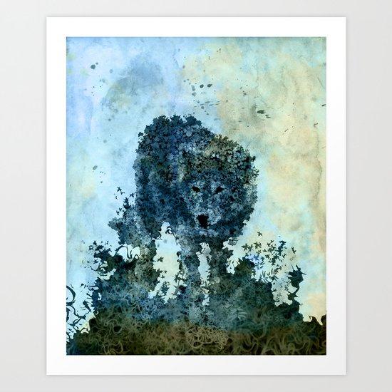 floral animals wolf Art Print