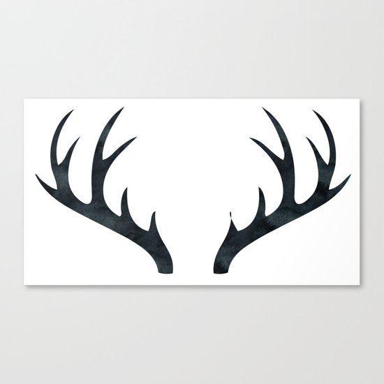 Antlers Black and White Canvas Print