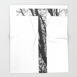 Minimal Letter T Print With Photography Background Throw Blanket