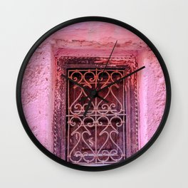 Colorful Pink Window in Morocco in Marrakech Wall Clock