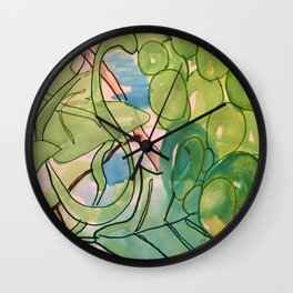 Green Grapes Wall Clock