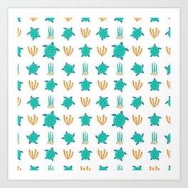 Cute turquoise orange turtle nautical coral reef floral Art Print