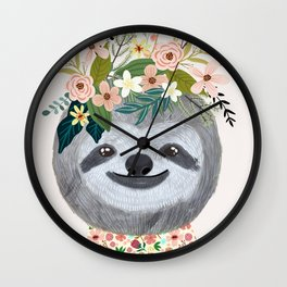 Sloth with flowers on head Wall Clock