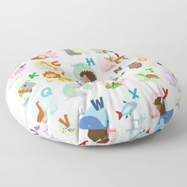 Cute cartoon zoo illustrated alphabet with funny animals. English alphabet. Floor Pillow