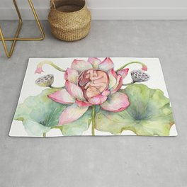 Cute Baby in a Lotus, Spring Blossom Rug