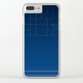 Digital Dark Navy Blue Ombre Fine Lines Clear iPhone Case
