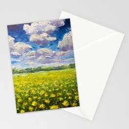 Original Oil and palette knife  painting on paper: The endless summer field of yellow flowers. Stationery Cards