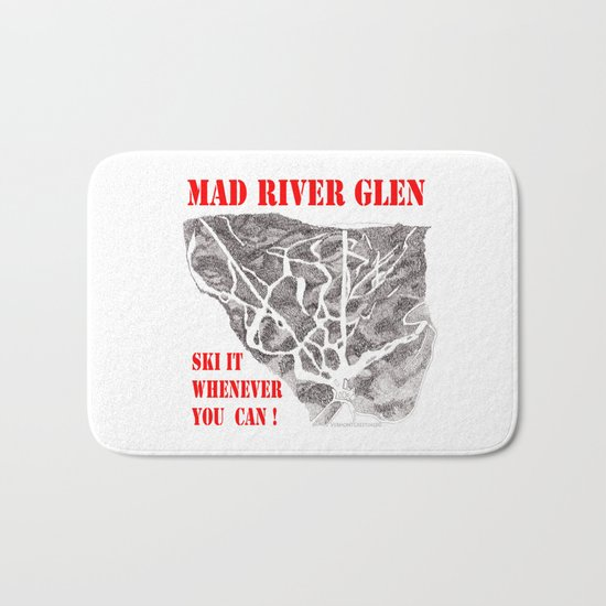 Mad River Glen Vermont, Ski it Whenever You Can! Illustration Bath Mat