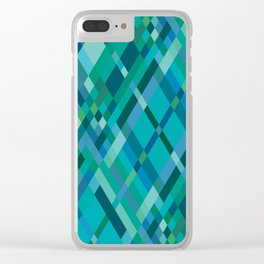 Blue Green Harlequin Pattern Clear iPhone Case