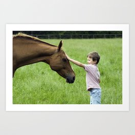 Horse and child connect Art Print