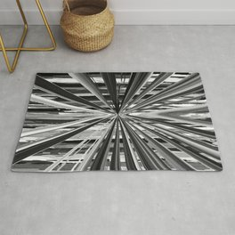 Black and White Abstract Stripe Design 706 Rug