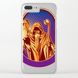 Hermit holding lamp Clear iPhone Case