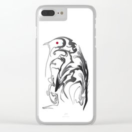 Penguin pigeon 1. Black on white background. Clear iPhone Case