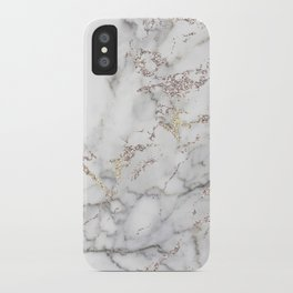 Champagne Rose Gold Blush Metallic Glitter Foil on Grey Marble iPhone Case
