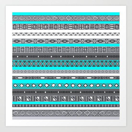 Ice Mint Aztec Pattern Art Print
