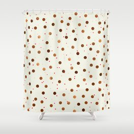 Copper Polka Dots With Red Hint Pattern Shower Curtain