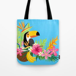 Tropical Toucan Island Coconut Flowers Fruit Blue Background Tote Bag