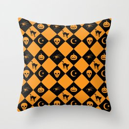 Halloween Black Orange Diamond Pattern Throw Pillow