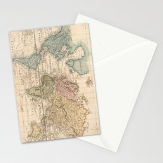 Vintage Map of The World (1823) 2 Stationery Cards