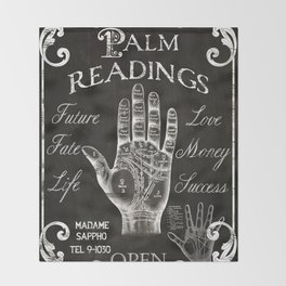 Vintage Palmistry Sign Throw Blanket