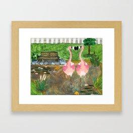 Yard Flamingo Koi Pond Framed Art Print