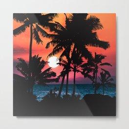Summer Tropical Pink Orange Palm Trees Sunset Metal Print