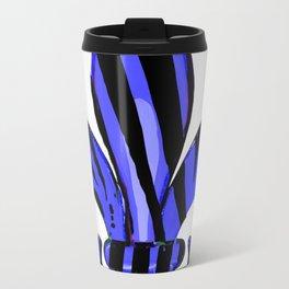 Fleur De Lis Blue Zebra Print Travel Mug