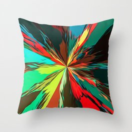geometric splash painting abstract in red green yellow blue and brown Throw Pillow