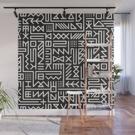 Black And White Rounded Line Geometric Hipster Signs Pattern Abstract Background Design Wall Mural