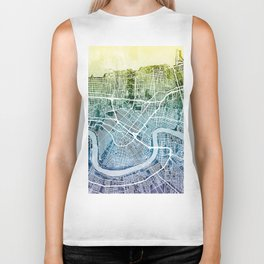 New Orleans City Map Biker Tank