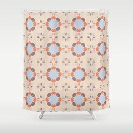 Blue Retro Tile Shower Curtain