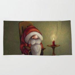 New edit: Little Santa in his rocking chair Beach Towel