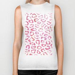 Modern white pink  watercolor animal print Biker Tank