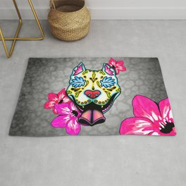 Slobbering Pit Bull - Day of the Dead Sugar Skull Pitbull Rug