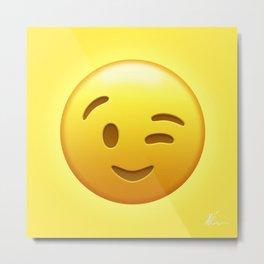 Emoji Winking Face Metal Print