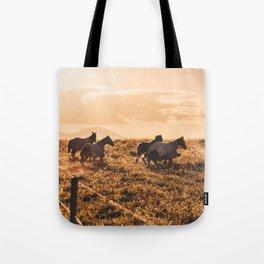wild horses at dusk Tote Bag